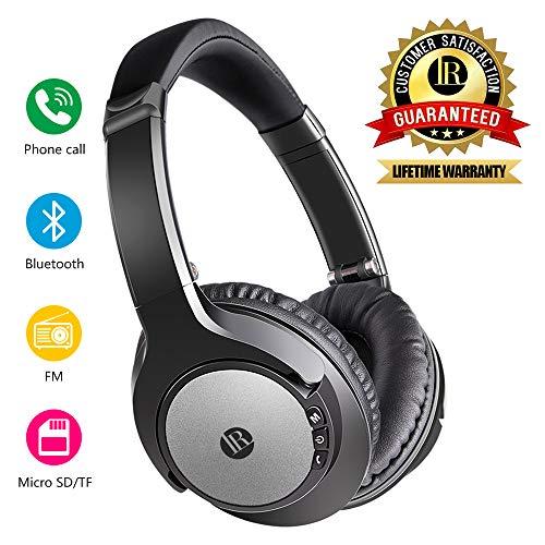 Casque Bluetooth sans Fil, Casque Pliable à Basses Puissantes Double Haut-Parleur 40 mm, 20 Heures d'Autonomie (Noir)
