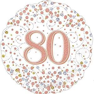 """OakTree 227185 - Globo de cumpleaños (45,7 cm), diseño con texto""""Happy 80th Birthday"""", color blanco y oro rosa"""