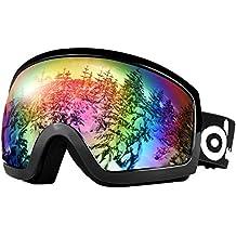 ODOLAND Gafas de esquí con magnético desmontable Diseño de la lente - para el adulto Hombre y Mujer - Espejo Revestimiento de Protección UV400 y Anti-Niebla La lente doble lente esférica cómodo para los días nublados y Sunny (VLT 20% Negro)