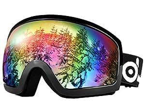ODOLAND grandi occhiali da vista scorrevoli sferici per uomini e donne, S2 Occhiali da sole OTG a due lenti per sci, snowboards, motoslitta, protezione UV400 e anti-nebulizzazione (20%VLT Nero)