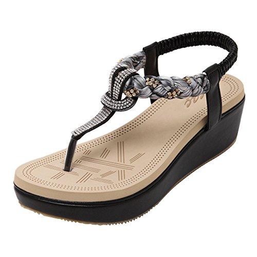 Zicac Women's Round Peep Clip Toe Platform Wedge Heel Rhinestone Elastic T-Strap...