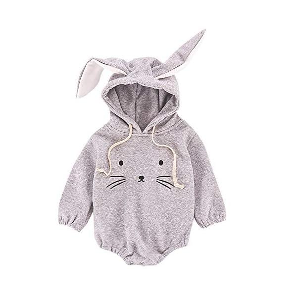 MAYOGO Mono Ropa Bebe Sudadera Manga Larga con Capucha Mameluco Conejo Bodis Ropa Animales para Bebe Niños Invierno Bebé… 3