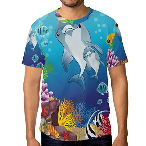 T-Shirt für Männer Jungen Ocean Pattern Mutter und Sohn Dolphin Custom Short Sleeve (Ocean Tröster Set Königin)