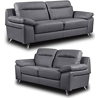 Nuvola Grey Leather Sofa Range 3 and 2 Seater Sofas (All combinations available) ... by Simply Stylish Sofas