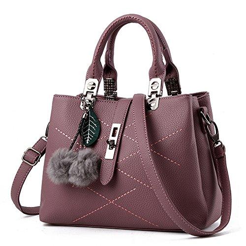 VANCOO 2017 Fashion Womens Tote Taschen Damen Handtaschen Umhängetasche für Frauen Hochwertige PU-Muschel (Purple) (Eine Tote Tasche)