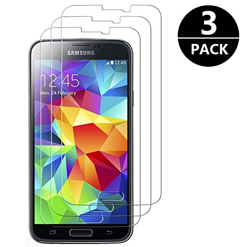 [3 pièces] Verre Trempé Samsung Galaxy S5, Zloer Vitre Protection Film de protecteur d'écran Samsung Galaxy S5 Film Protection écran Protecteur Vitre, Screen Protector pour Samsung Galaxy S5