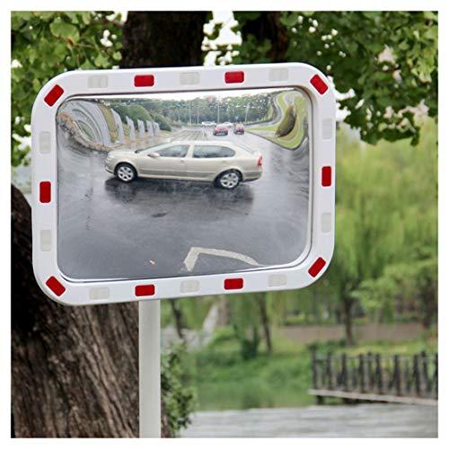 Grandangolo Sicurezza Stradale specchio convesso bianco curvo for esterni Safurance Roadside Spot Traffic Safety segnale Specchio (Size : 60 * 80cm)