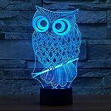 Neuheit Eule Illusion Lampen LED Nachtlichter, FZAI Touch Tisch Schreibtisch Lampe Dekoration 7 Farben Einzigartige Lichteffekte für Kinder Awesome Geschenk