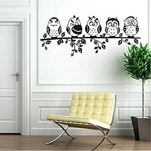 ebende Wandtattoos wasserdichte Wandtattoos 59X24cm Five Coffee Cute Baby Owl Wandtattoos Tier Wandtattoos Vinyl Selbstklebende Tapete für Kinderzimmer Wohnkultur ()