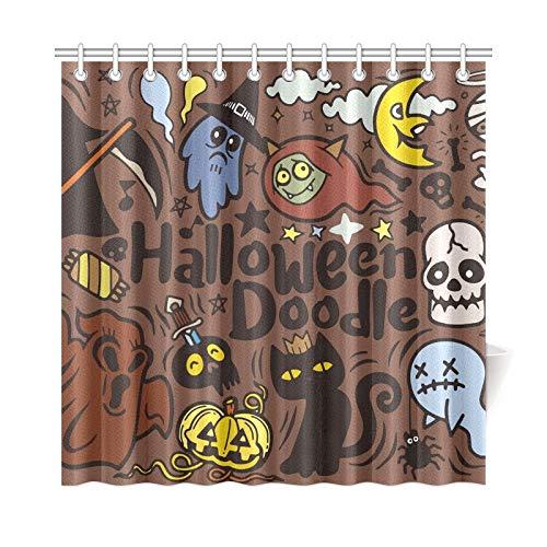 ad Vorhang Halloween Poster Design Set Vampire Polyester Stoff Wasserdicht Duschvorhang Für Badezimmer, 72X72 Zoll Duschvorhänge Haken Enthalten ()