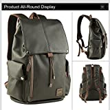 Yoome 14 pouces Pu Leather Flap Sac à dos Laptop Dayback Travel College for Boys Randonnée Camping Mountaineering Outdoor Weekend Bag - Noir