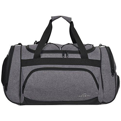 KEANU Die durchdachte Sporttasche (50 x 29 x 28 cm Fitness Yoga Sauna mit XL Getränkenetz :: Grosse multifunktionale Tasche für Gym Sport Sauna Reise Wellness :: Reisetasche - Auswahl (Grey Melange)
