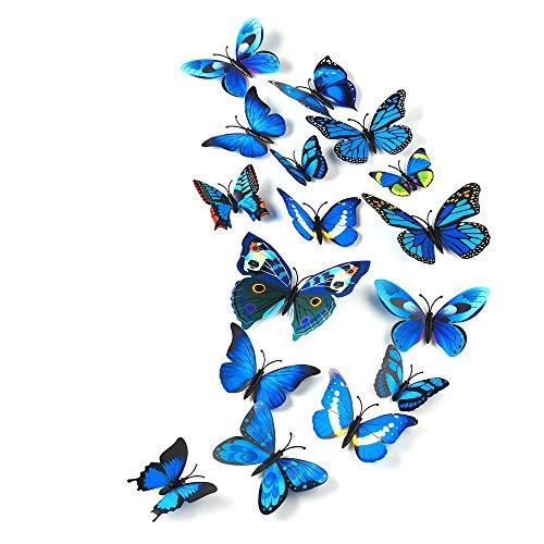 TUPARKA 36 Stück 3D Schmetterlinge Deko Schmetterling Wanddeko Butterfly Wandsticker 3D Wandtatoo Schmetterlinge Balkon Deko (Blau)