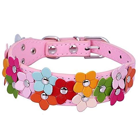 Pet Moon Soft Leather Dog Collar Flower Colour Padded Mulitple Colours (Pink, Mediem(11.5 - 15.2