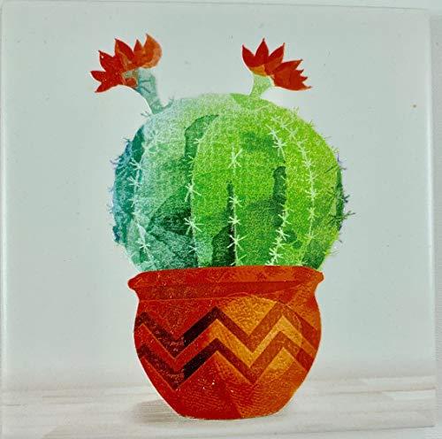 Quadro legno cornice bianca shabby chic con mattonella ceramica nel centro decorata colorata in rilievo 100% made in italy albero della vita sacra famiglia natura 25 x 25 cm (cactus rotondo)