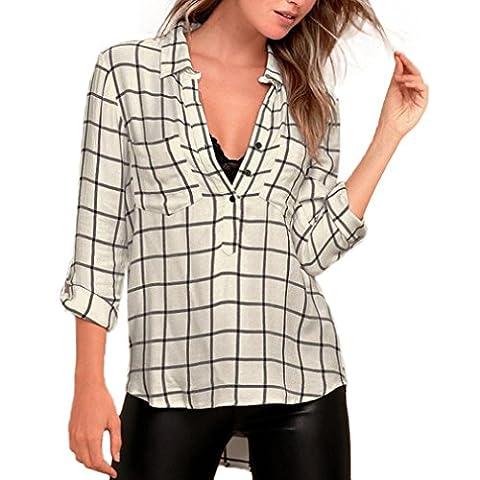Reaso Femmes Chic Top Manche longue Blouse Col V Rayé Chemise Imprimé Casual Blouson Elegant Shirt Sexy Haut (L, Beige)