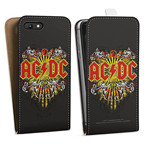 Apple iPhone 7 Plus Silikon Hülle Case Schutzhülle ACDC Danger Offizielles Lizenzprodukt Downflip Tasche weiß