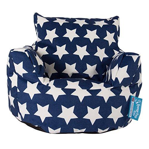 LOUNGE PUG®, Kindersessel Sitzsack, Sitzsack Kinder, Druck Blau Star