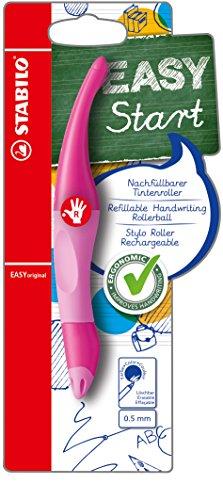 Ergonomischer Tintenroller für Rechtshänder - STABILO EASYoriginal in pink hell/dunkel - Schreibfarbe blau (löschbar) - inklusive Patrone