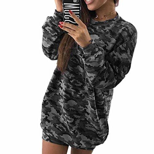 Longra Damen Mode Camouflage Langarm Baseball T-Shirt Kleid Damen Casual Kleid Rundhals Langshirt Minikleid Hemdkleid Tops Bluse (Camouflage, M)