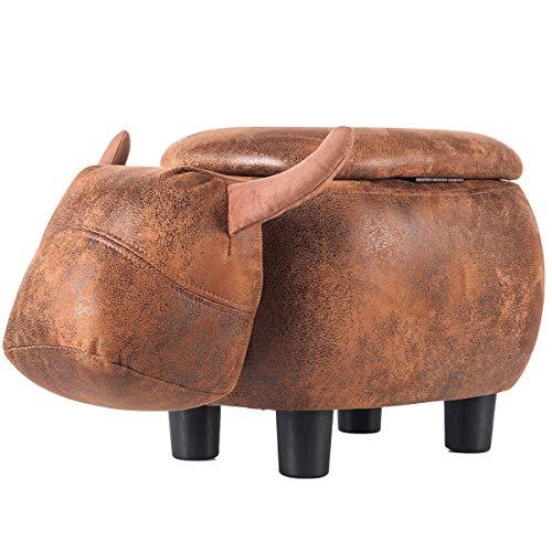 WJL Fun Series Padded Ride Storage Ottoman Fußhocker Hocker, lebendige und niedliche Tierform (brauner Büffel)