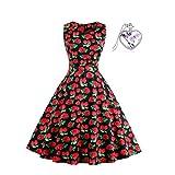 BiilyLi Damen Retro Rockabilly Party Kleid-Ethnisch Stil Abend Kleid Chiffon Laub Vintage Kleid Plus Größe (XL(44), Erdbeeren 1)