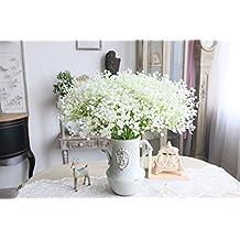 Moda 10 pcs blanco gypsophila Artificial Fake Hermosa flor casa fiesta boda decoración flores