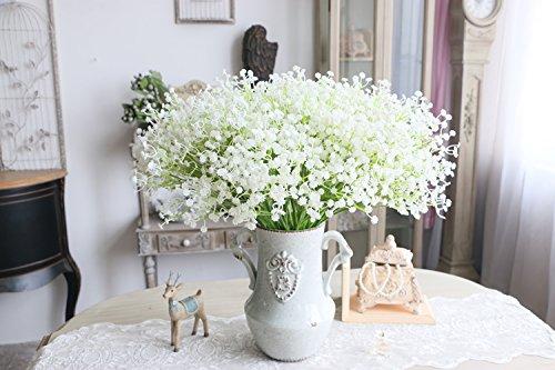 Moda 10 pcs blanco gypsophila Artificial Fake Hermosa flor casa fiesta boda...