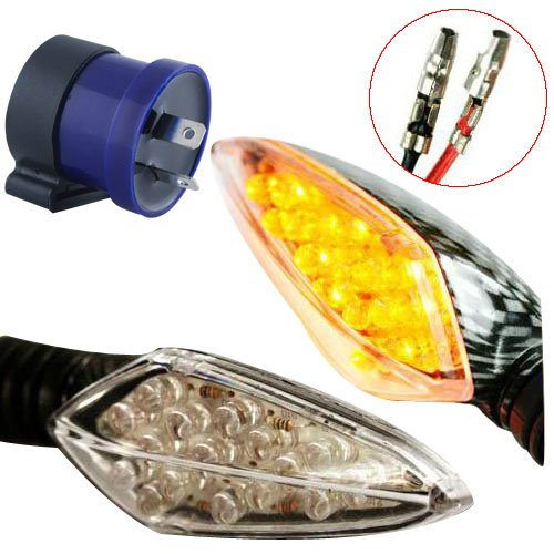 Complete Set of 4 x Motor Bike Front Rear Turn Signal Indicators Amber Light Carbon Style Flasher With Relay 12V Test
