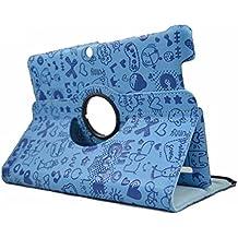 "Funda para Tablet Bq Edison 3 10.1"" Quad Core. Giratoria 360º Color AZUL DIBUJOS + 2 Protectores de pantalla"