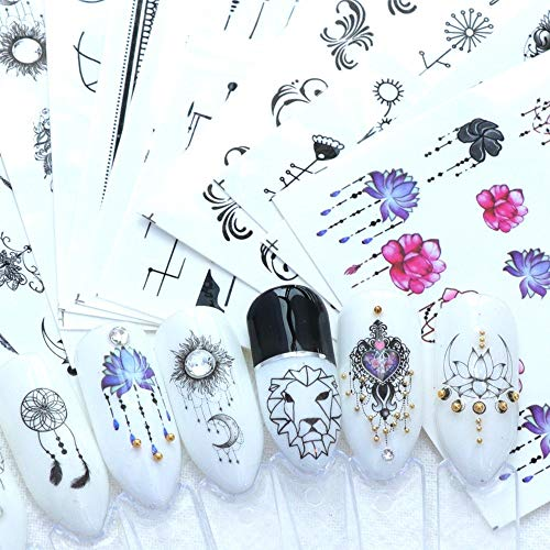 LXYQW Pegatina de uñas 40Pcs Nail Sticker Applique Flower Animal Black White Geometric Slider Manicure Nail Decoration A