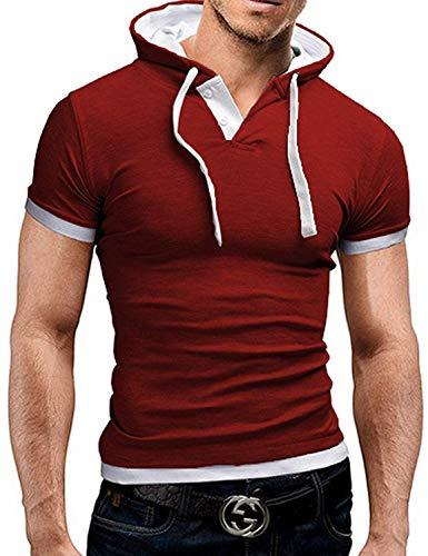 Herren Sommer Kapuzenshirt Hoodie Kurzarm Shirt Slim Fit Sports Unikat Style T Shirt Oberteile Männer Fashion (Color : Rot+White, Size : M)