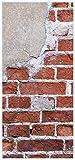 posterdepot Türtapete Türposter Steinwand, rote Ziegelsteine mit Putz - Größe 93 x 205 cm, 1 Stück, ktt0008