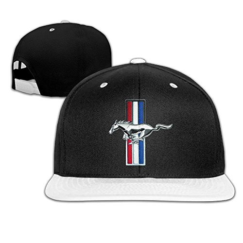 Huseki ABSOP Ford Mustang GT Adjustable Snapback Hip-hop Baseball Cap White (Ford Mustang Kappe)