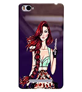 Fuson Soldier Girl Back Case Cover for XIAOMI Mi4i - D4055