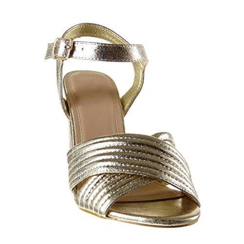 Angkorly - Chaussures Mode Sandales Chaussures Ouvertes Décolleté Femme Lignes Couture Coutures Thong High Bloc Talon 10.5 Cm Or