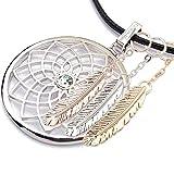 Gepardini Traumfänger Halskette mit SWAROVSKI Kristalle (mit 3 Federn im Set), silber