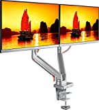 ONKRON Dual Monitor Desk Mount for 23 to 32-Inch Flat Screens up to 8 kg Full Motion Arm Silver (MS160)
