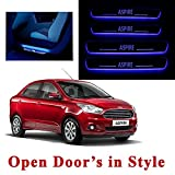 Ample Wings Car Door LED Blue Sill Scuff Plate Foot Steps For Ford Aspire