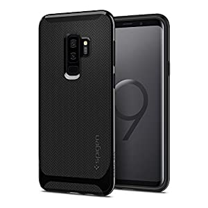 Spigen Neo Hybrid Galaxy S9 Plus Case with Flexible Herringbone Pattern Protection and Reinforced Hard Bumper Frame for Samsung Galaxy S9 Plus (2018) - Shiny Black - 593CS22942
