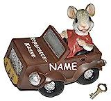 """Spardose Maus mit Auto """" Reparatur-Kasse """" - mit Schlüssel + Name"""