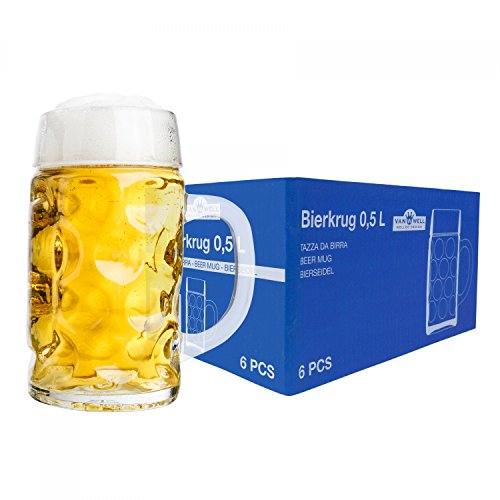VAN WELL 6er Set Maßkrug 0,5L geeicht | Halber Liter Bierkrug mit Henkel | Bierglas spülmaschinenfest perfekt geeignet für Gastronomie