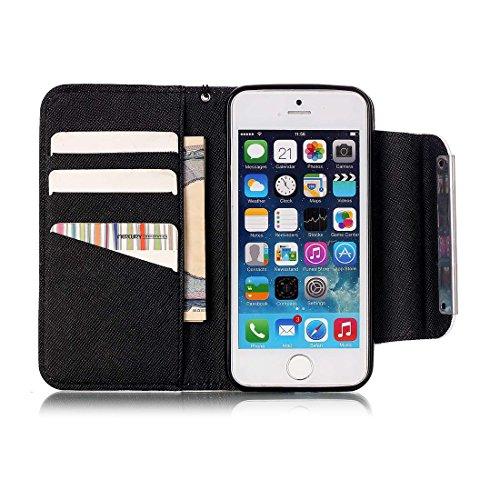 Yaking® Apple iPhone 5/5S/SE Coque, (3 in 1) PU Portefeuille Étui Coque Stand Flip Housse Couvrir Case Cover pour Apple iPhone 5/5S/SE avec 1 X Stylet + 1 X Strass Bouchon Anti-Poussière Photo-10
