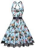OTEN Vintage Kleider, Frauen mit Blumenmuster, 1950er-Jahre, Rockabilly Neckholder-Kleid Gr. Medium, Ananas
