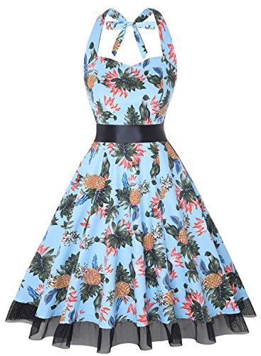 OTEN Damen Neckholder Kleid Gr. Small, Ananas (Kleid Neckholder Baumwolle Floral)