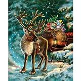 Sunnay Weihnachten 5D Diamond Painting,Weihnachtsmann Sankt Theme Diamant Malerei Zeichnung DIY Stickerei Kreuz Stich Dekoration Stickerei Gemälde Kreuzstich Schlafzimmer (Elch, 30 * 38cm)