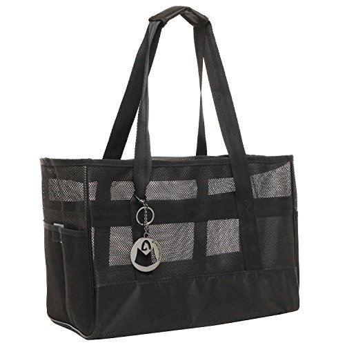 MG Collection Designer Inspired Super Breathable Black Soft Mesh Sided Dog and Cat Travel Pet Carrier Tote Hand Bag by MG Collection (Tote Small Collection)
