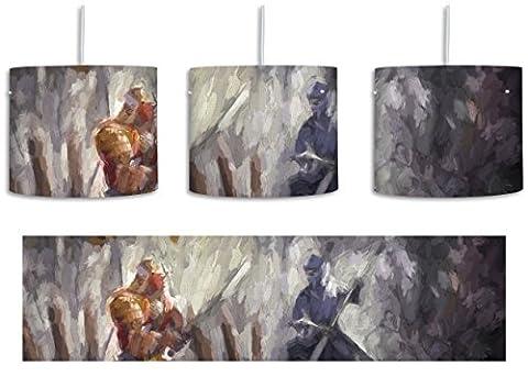 Kampf zwischen Samurai und Ninja Kunst Pinsel Effekt inkl. Lampenfassung E27, Lampe mit Motivdruck, tolle Deckenlampe, Hängelampe, Pendelleuchte - Durchmesser 30cm - Dekoration mit Licht ideal für Wohnzimmer, Kinderzimmer, Schlafzimmer