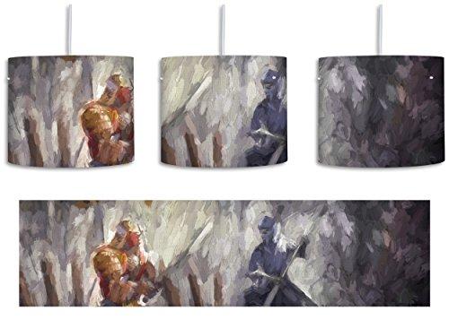 Kampf zwischen Samurai und Ninja Kunst Pinsel Effekt inkl. Lampenfassung E27, Lampe mit Motivdruck, tolle Deckenlampe, Hängelampe, Pendelleuchte - Durchmesser 30cm - Dekoration mit Licht ideal für Wohnzimmer, Kinderzimmer, (Kostüme Keine Kultur)