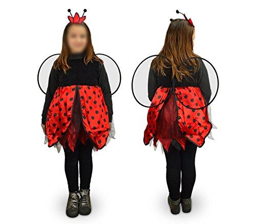 Media wave store 619427 costume di carnevale travestimento coccinella da bambina da 9 a 12 anni